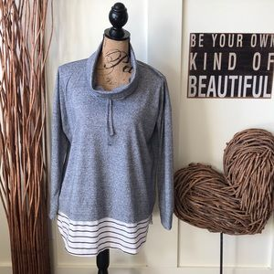 Style&co. 2fer gray knit top with striped hem